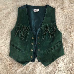 Vintage suede dark green fringe vest